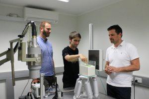 Dr Benjy Marks, Dr François Guillard, and Prof Itai Einav in the DynamiX Lab studying granular flow using custom X-ray equipment.